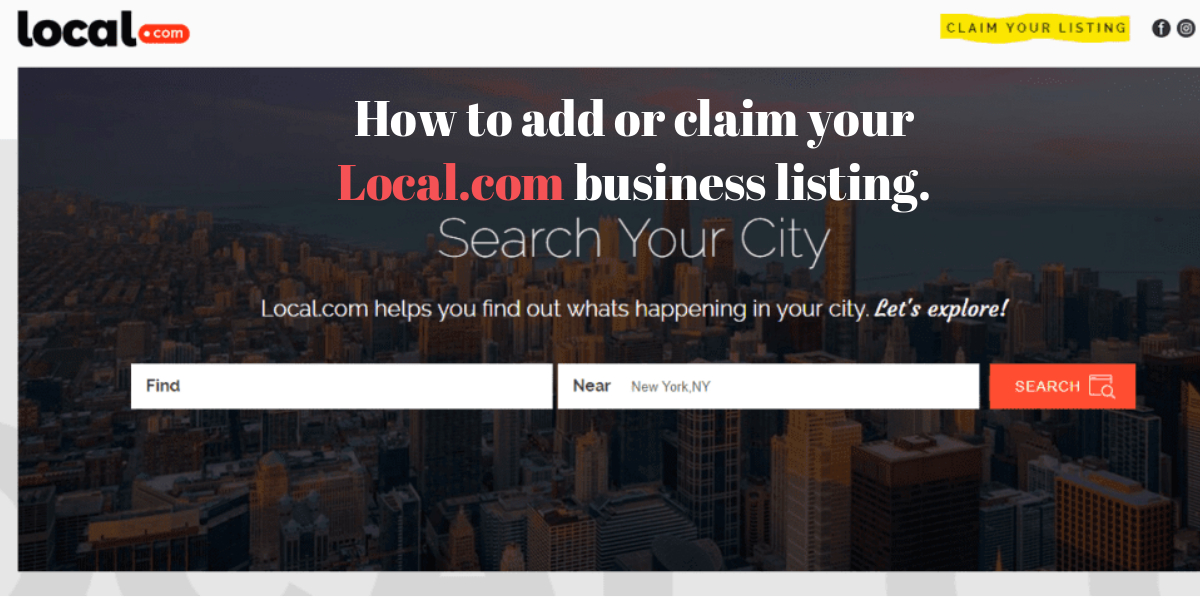 How to add or claim your Local.com business listing.