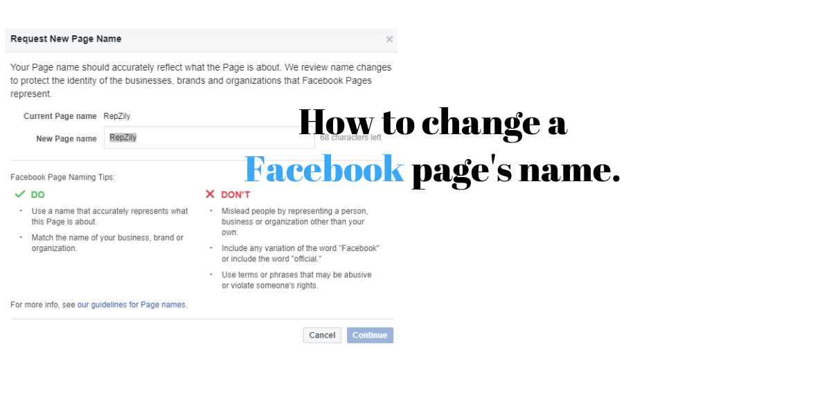 How to change a Facebook page's name.