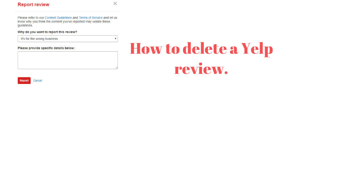 How to delete a Yelp review.